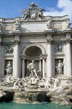 Italie, rome, fontaine de trevi, sculpture, statue, voeu, touristes, dolce vita,