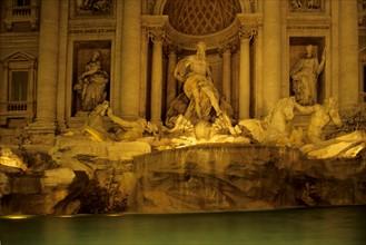 Italie, rome, fontaine de trevi, sculpture, statue, voeu, touristes, dolce vita, nuit,