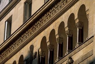 France, ile de france, paris 9e arrondissement, 25 rue blanche, eglise evangelique allemande, facade sur rue, religion,