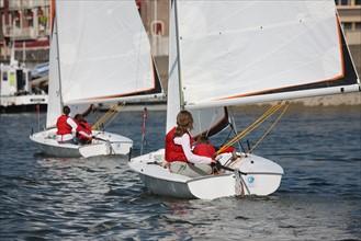 France, Haute Normandie, seine maritime, pays de la bresle maritime, le treport, ecole de voile de david le carrou, voiliers, jeunes, navigation, nautisme,