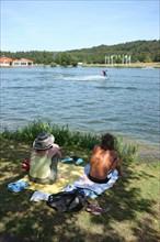 France, Haute Normandie, seine maritime, plateau de caux maritime, lac de caniel, base nautique et de loisirs, plage, nautisme, sports, teleski nautique,