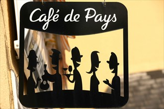France, Basse Normandie, manche, pays saint lois, baudre, cafe de pays l'incognito, gastronomie, cidre, convivialite, enseigne, logo,