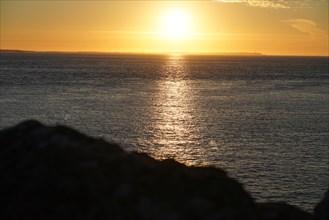 Pointe de Kermorvan, Finistère nord, soleil couchant