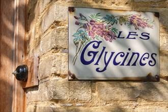"""Plaque émaillée """"Les glycines"""""""