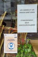 Paris, restaurant fermé pour cause de pandémie Covid-19