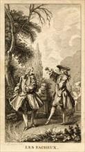 Gravure du XVIIIe  siècle. Scène des Fâcheux de Molière.