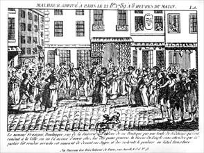 Un boulanger accusé d'affamer Paris va être pendu par la foule (1789)