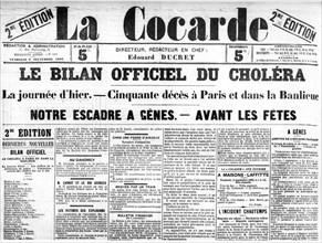 """Manchette de """"La Cocarde"""", bilan officiel de l'épidémie de choléra (1892)"""