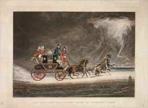 The mail coach in a thunderstorm on Newmarket Heath, Suffolk, 1827.  Artist: G Reeves