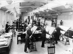 Draughtsmen in the drawing office, Vauxhall Motors, Luton, 1930. Artist: Unknown