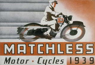 Poster advertising Matchless motor bikes, 1939. Artist: Unknown