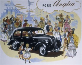 Poster advertising the Ford Anglia car. Artist: Unknown