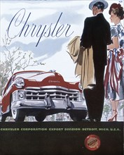 Poster advertising a Chrysler, 1950. Artist: Unknown