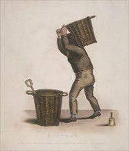Dustman carrying a basket of refuse on his back, 1820. Artist: Thomas Lord Busby