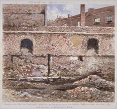 Portion of London Wall showing the internal face on Cooper's Row, City of London, 1864.              Artist: J Maund