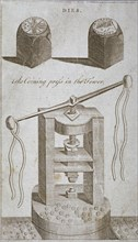 Coining press and dies from the Tower of London, 1800. Artist: Anon