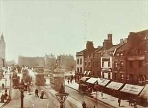 Double-decker electric trams on Westminster Bridge, London, 1906. Artist: Unknown.
