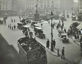 Traffic at Piccadilly Circus, London, 1912. Artist: Unknown.