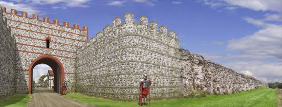 South gate of Silchester Roman City Walls, c3rd century, (c1990-2010) Artist