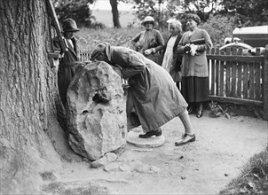 People visiting King Alfred's Blowing Stone, Kingston Lisle, near Uffington, Oxfordshire, c1920s. Artist: Bill Brunell.