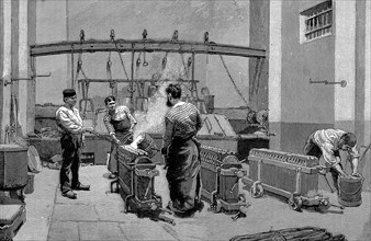 Melting house at the Paris mint, 1892. Artist: Unknown