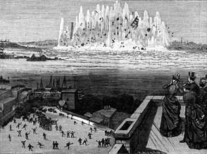 Blowing up Flood Rock, 1885, (1886).  Artist: Anon