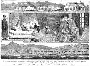 Europeans in a smallpox quarantine camp at El Tor, North Africa, 1884. Artist: Unknown