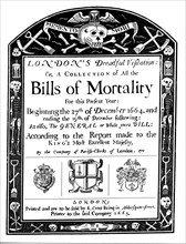 Bills of mortality bill for London, covering part of the period of the Great Plague, 1664-1665. Artist: Unknown