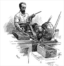 Milling the edges of coins, Royal Mint, London, 1891. Artist: Unknown