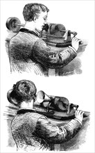 Making a recording with, and listening to, first Edison Phonograph, 1878. Artist: Unknown