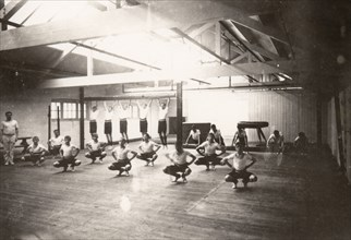 Boys in a indoor gym lesson, York, Yorkshire, 1910. Artist: Unknown