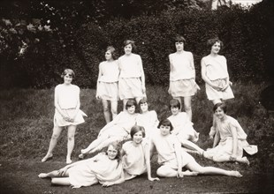 Girls Greek dancing class pose on lawn, 1929. Artist: Unknown