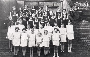 Group photo of girls Greek dancing and gymnastic class, York, Yorkshire, 1929. Artist: Unknown