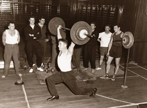 Rowntree staff weight-lifting club,  York, Yorkshire, 1960. Artist: Unknown