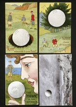 Golf ball postcards, c1920s-1930s. Artist: Unknown