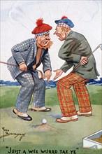 Golfing cartoon, c1920s. Artist: Fred Buchanan