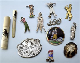 Selection of golfing brooches, c1915-1939. Artist: Unknown