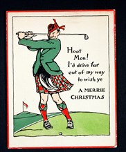 Christmas card with golfing theme, c1910. Artist: Unknown