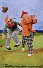 Golfing cartoon, c1920s. Artist: Unknown