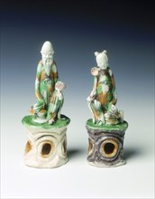 Two incence stick holders in the form of immortals, late Ming dynasty, China, 1600-1644. Artist: Unknown
