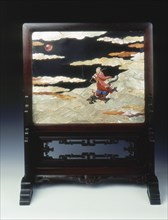 Lacquer plaque mounted as a screen, with various inlays, Qing dynasty, China, 1st half 18th century. Artist: Unknown
