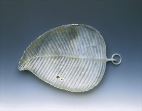 Jade leaf tray with weevil holes, Qing dynasty, China, late 18th-early 19th century. Artist: Unknown