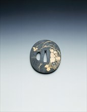 Tsuba (sword hilt) in shakudo with gold inlays of grasses and cricket, Japan, early 19th century. Artist: Unknown