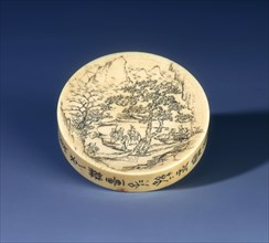 Ivory snuff tray, Qing dynasty, China, 1898. Artist: Unknown