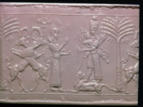 Seal showing the goddess Ishtar, Neo-Assyrian, c720-c700 BC. Artist: Unknown
