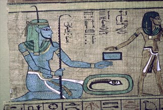 Egyptian papyrus showing the god Nun. Artist: Unknown