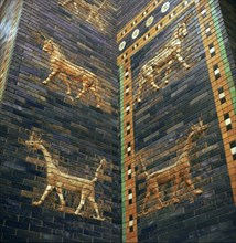 Moulded bricks from the Ishtar Gate showing lions and mushrushu, 7th century BC Artist: Unknown