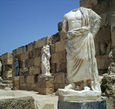Roman statues in the gymnasium in Salamis, 3rd century. Artist: Unknown