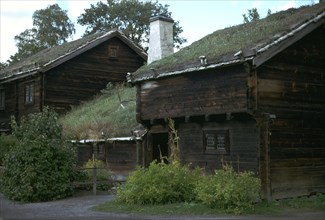 Traditional Swedish farm building with a turf roof. Artist: Unknown