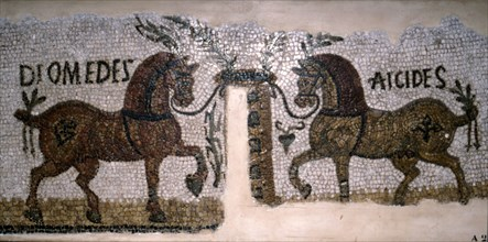 Roman Mosaic of Horses, Diomeder and Aicides, 2nd-3rd century. Artist: Unknown.